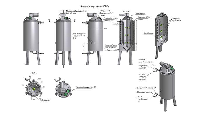 Схема устройства биореактора