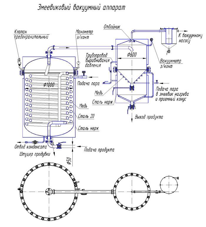 Змеевиковый вакуумный аппарат