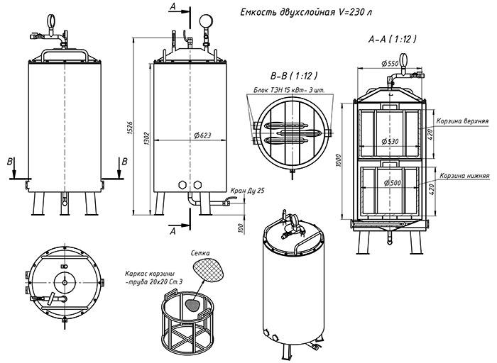 Схема устройства автоклава с